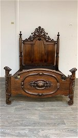19th C New Orleans Creole Rosewood Bed
