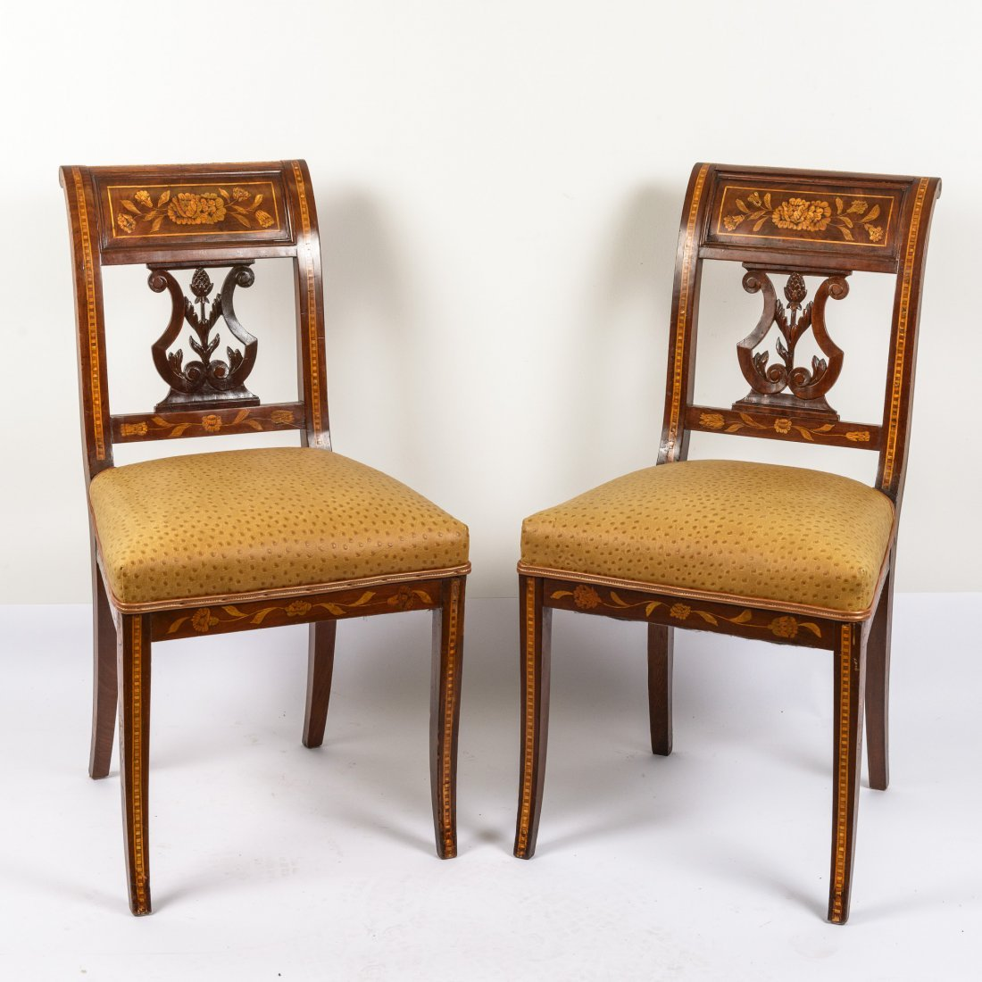 A Pair of Dutch Marquetry Side Chairs c. 1800,