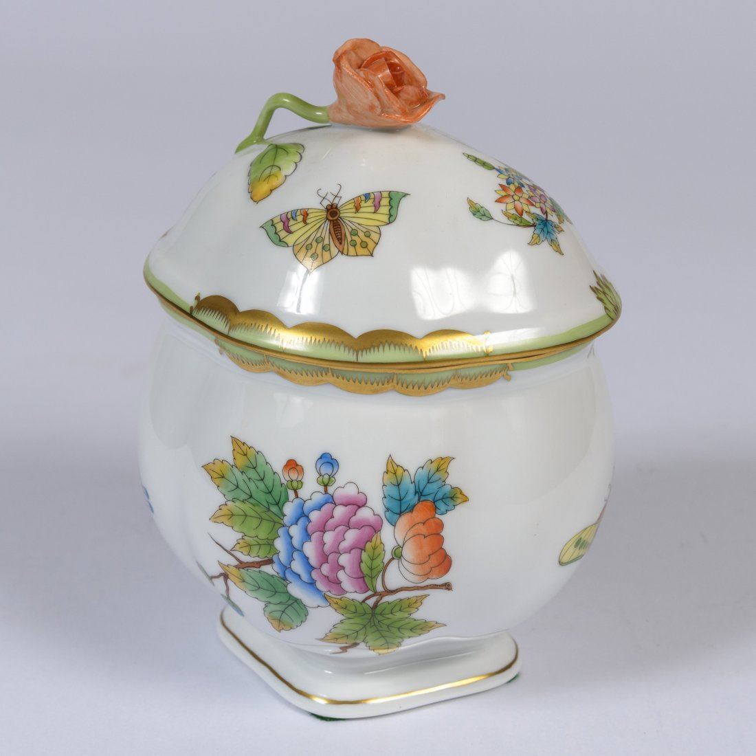 A Herend Porcelain Lidded Sugar Bowl,