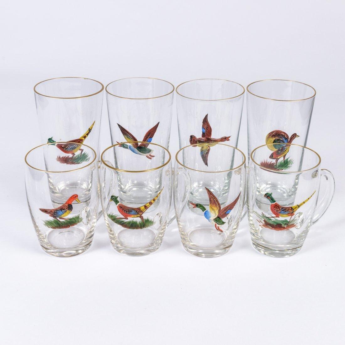 Twelve Pieces of Game Bird Decorated Drinkware,