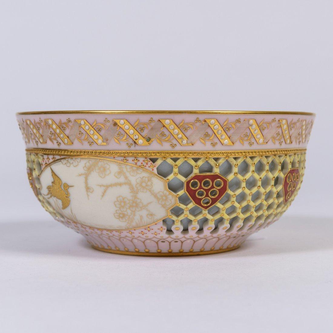 """A Royal Worcester """"Caged"""" Porcelain Bowl,"""