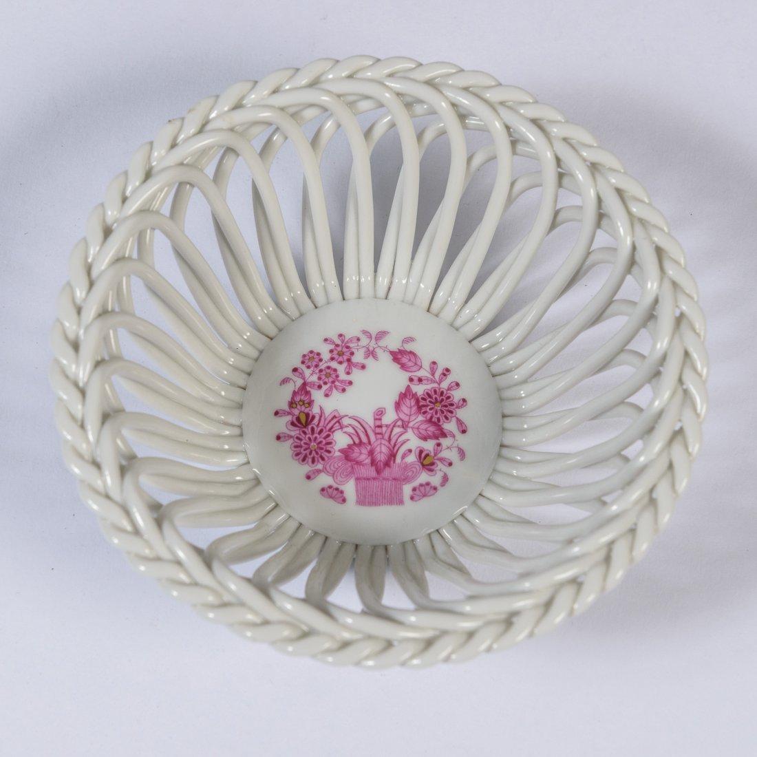 A Herend Porcelain Basket Bowl,