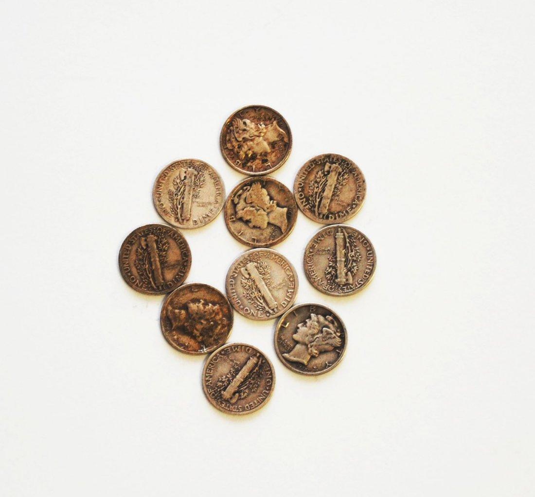 Ten (10) Mercury Dimes