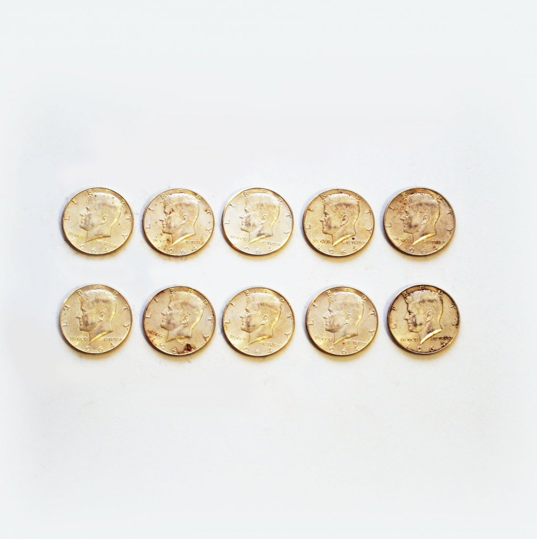 Ten (10) Kennedy Half-Dollars, 1964