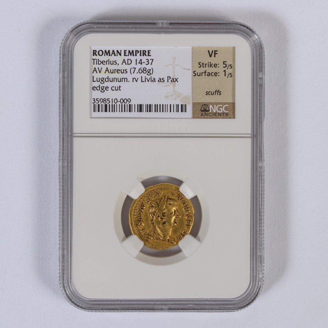 ROMAN EMPIRE GOLD COIN NGC CERTIFIED TIBERIUS AUREUS