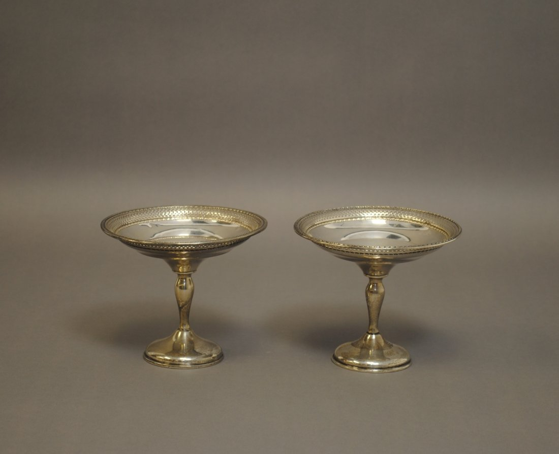 A Pair of Sterling Compotes
