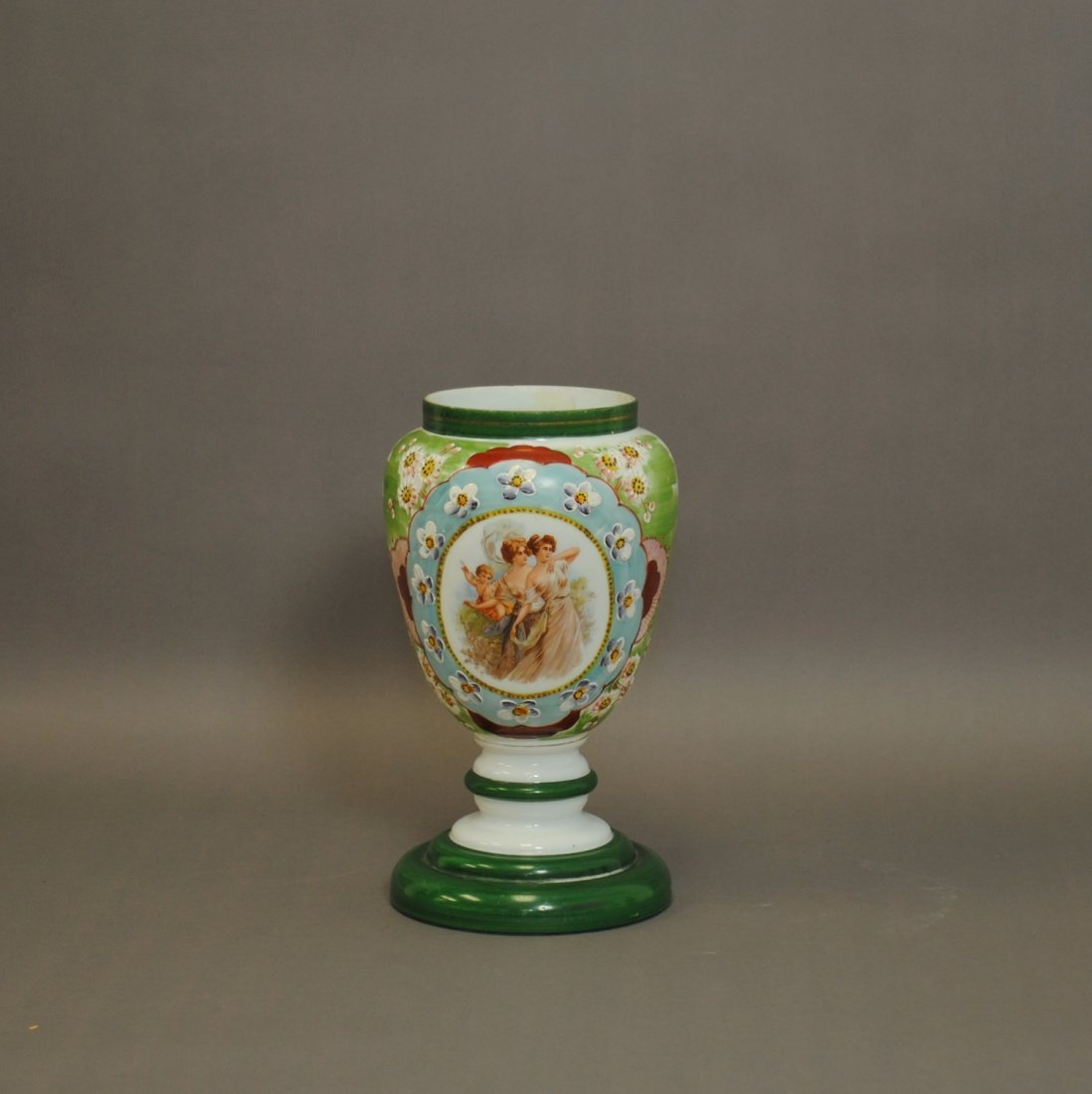 Victorian Hand Painted Milk Glass Vase
