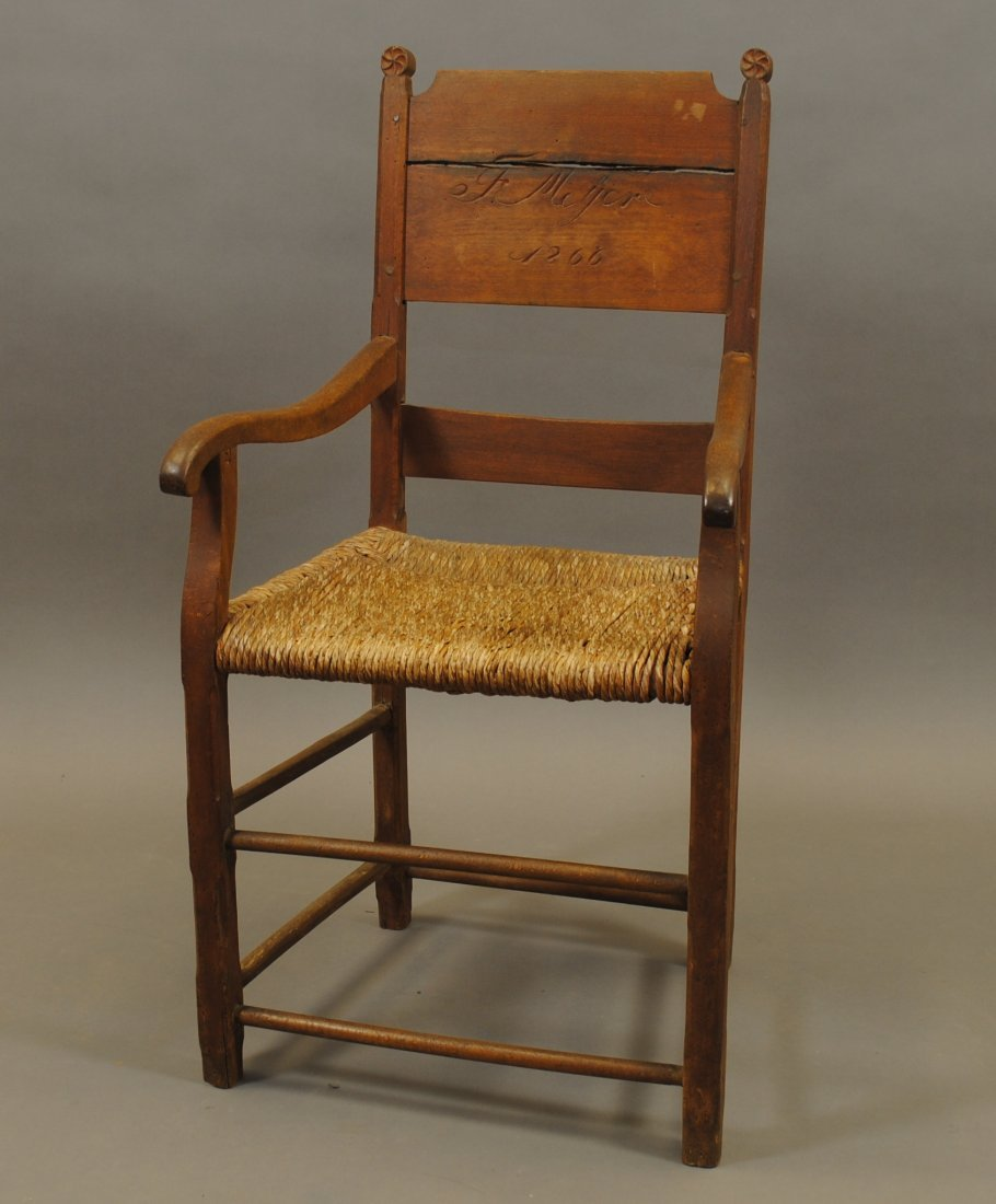 An Unusual 19th C Folk Art Arm Chair,