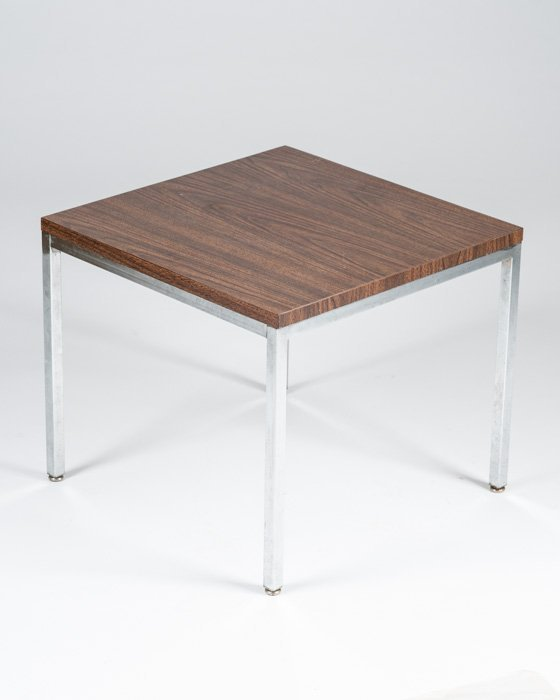 A Chrome Side Table with Veneered Top