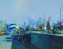 "Acrylic on Canvas by Nicola Simbari ""Little Pier"""