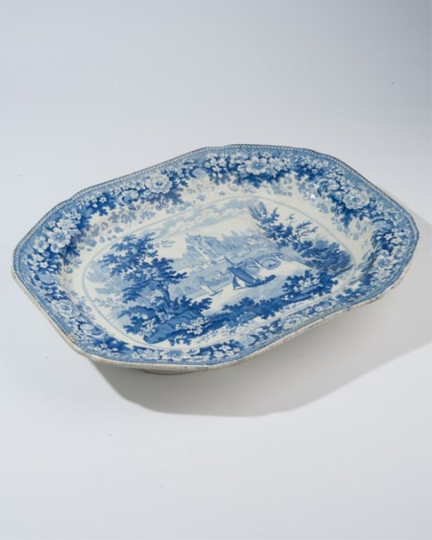 A 19th C. Transferware Footed Platter
