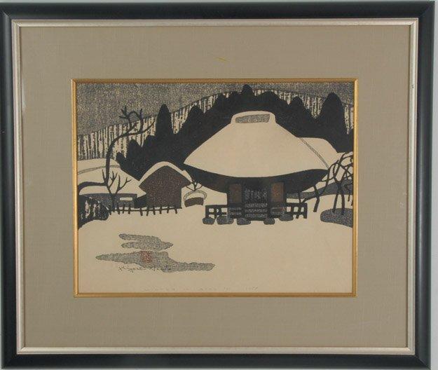 """Winter in Aizu"", Kiyoshi Saito Woodblock Print"
