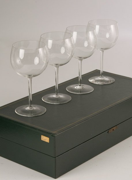 Four(4) Gucci Crystal Wine Glasses in Fitted Box