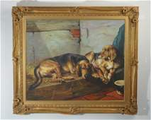 Decorative Painting of Two Hound Dogs