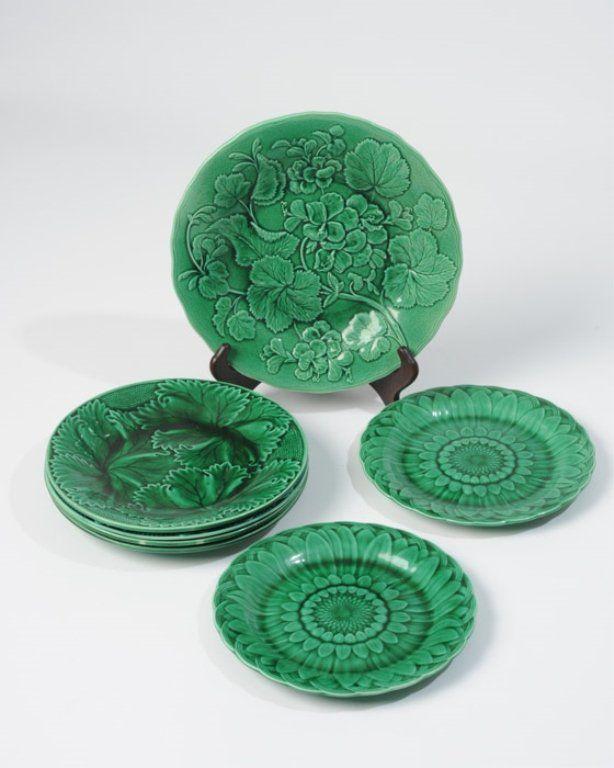 Seven(7) Assembled Majolica Greenware Plates