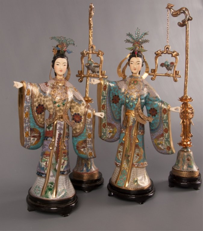 Pair of E 20th C Cloisonne Chinese Empress Figures