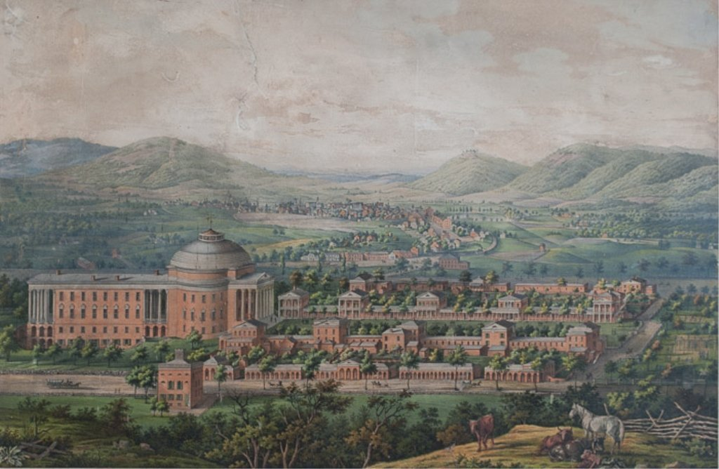 """View of the University of Virginia"" Engraving"