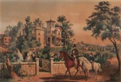 Currier  Ives Lithograph May Country Morning