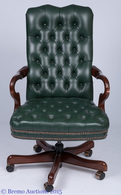 Fairfield Chair Co. Green Leather Office Chair