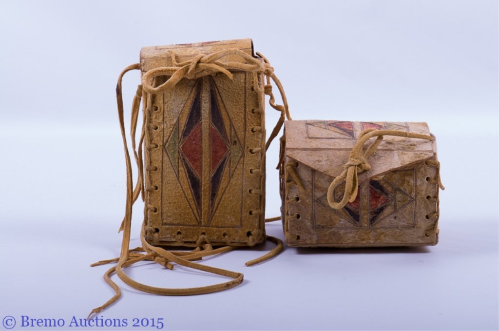 Signed Native American Parfleche Box & Bag