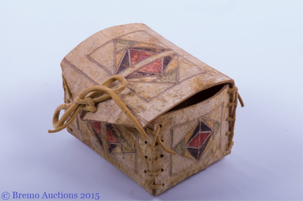 Signed Native American Parfleche Box & Bag - 7