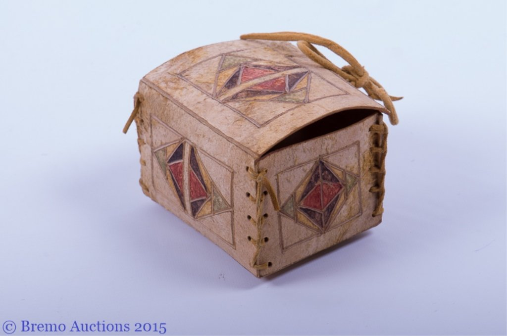 Signed Native American Parfleche Box & Bag - 8