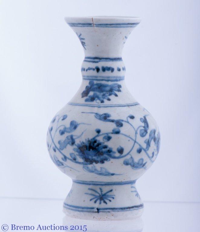 Ming Dynasty Style Blue and White Porcelain Vase - 4