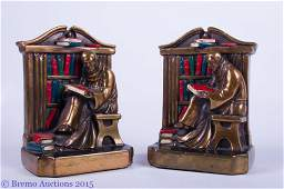 Monk Reading in Library Antique Bookends