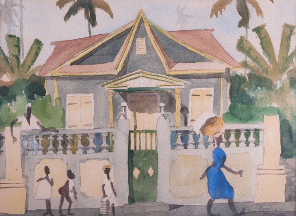 Emilio Sanchez Framed Watercolor