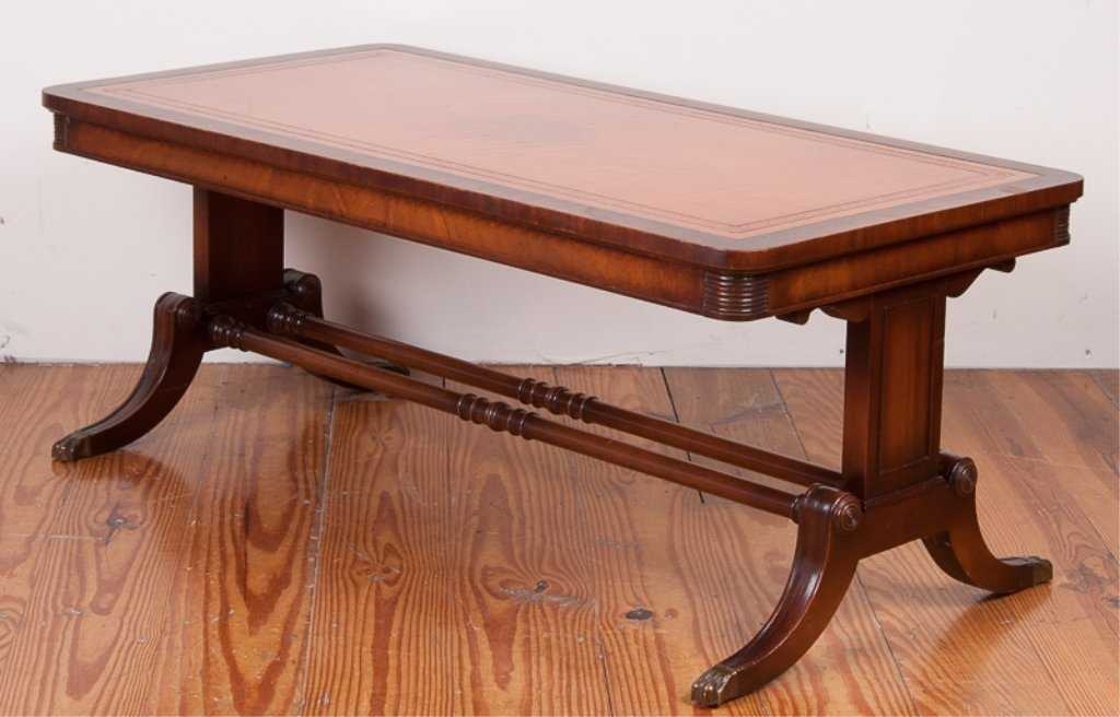 imperial mahogany leather top coffee table - Leather Top Coffee Table