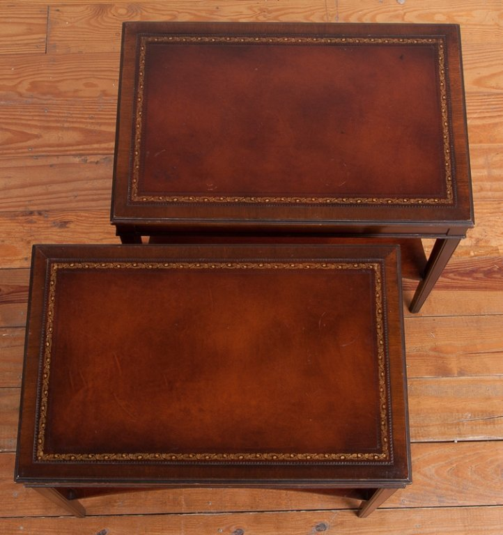 Lammerts Furniture Leather Top End Tables, Pair - 2