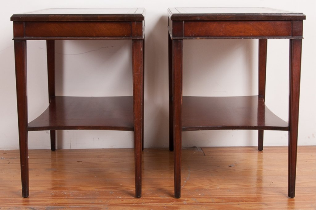 Lammerts Furniture Leather Top End Tables, Pair - 4