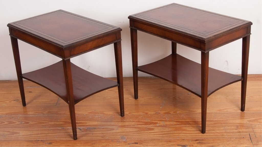 Lammerts Furniture Leather Top End Tables, Pair - 5
