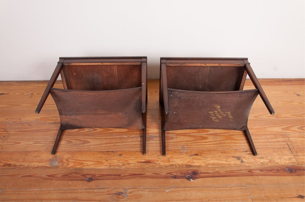 Lammerts Furniture Leather Top End Tables, Pair - 6