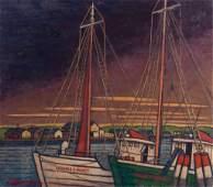"Larry Edwardson ""Gloucester Harbor"" Oil on Board"