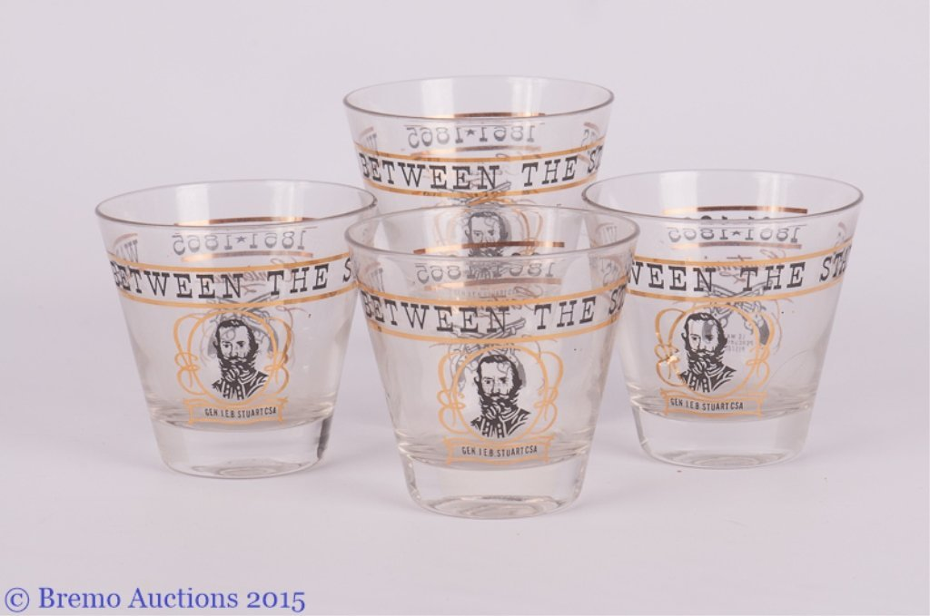 """""""War Between the States"""" Glasses, Set of Four (4)"""