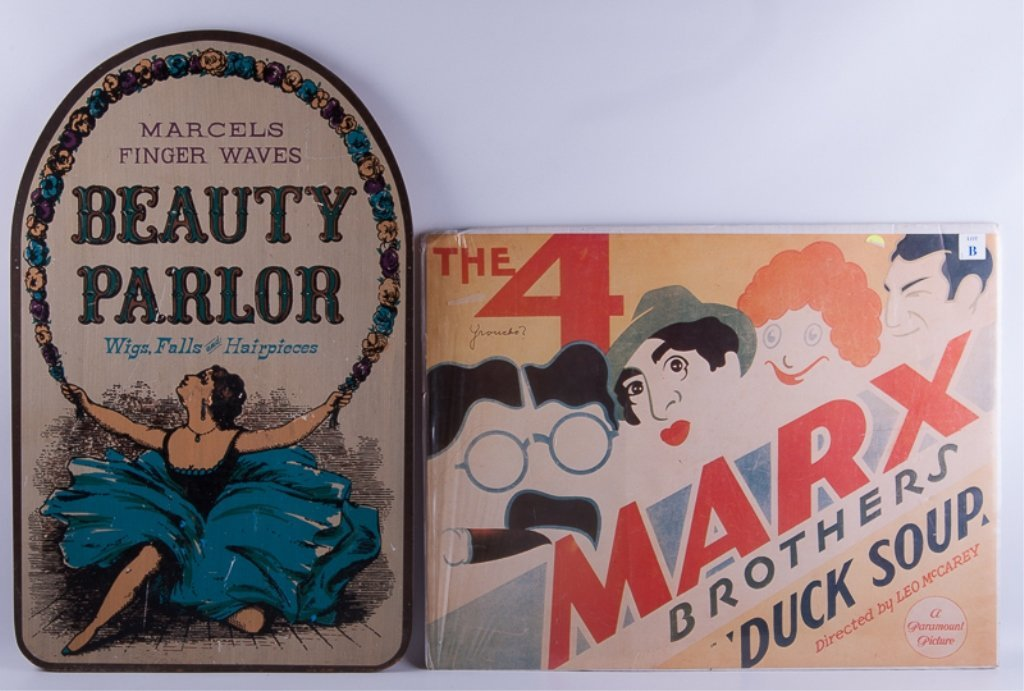Vintage Marx Brothers Poster & Hair Salon Sign