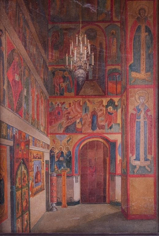 """N. Borisov """"Cathedral of the Annunciation"""" Oil"""