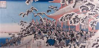 19th C Japanese Woodblock Print Triptych