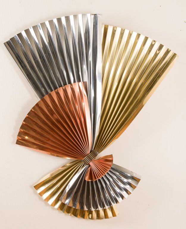 Curtis Jere Brass, Chrome and Copper Bow Sculpture