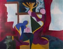 Alvin Cohen Acrylic on Canvas Figural Abstract