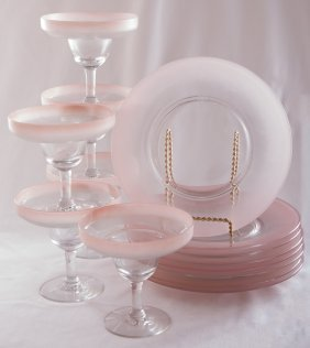 Dorothy Thorpe Pink Frosted Glassware, Fourteen