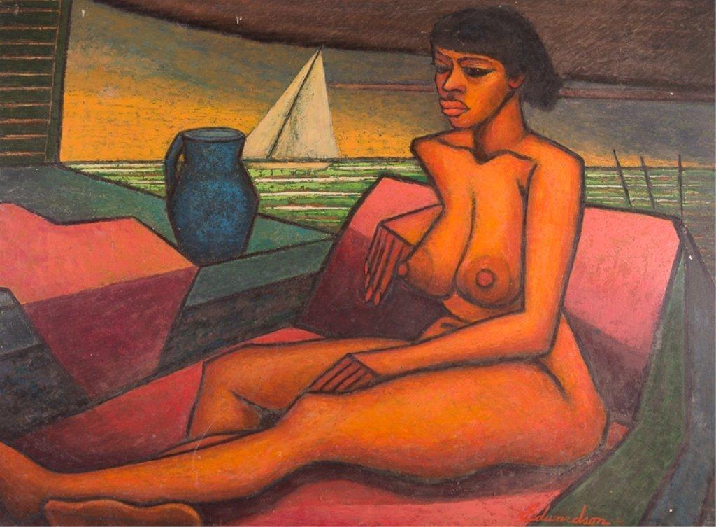 """Larry Edwardson """"Reclining Nude"""" Oil on Board"""