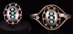 Old Pawn Zuni Turquoise And Silver Ring & Bracelet