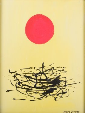 "Adolph Gottlieb Acrylic On Board ""composition"""