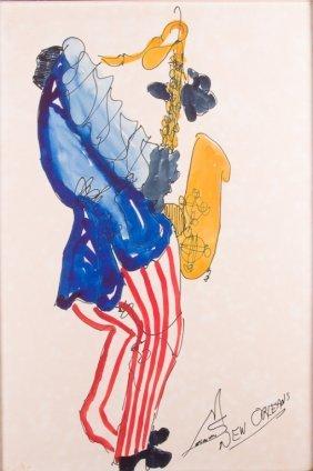 Leo Meiersdorff New Orleans Musician Watercolor