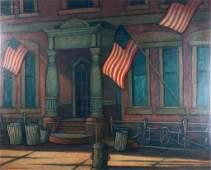 "Larry Edwardson ""Flag Day"" Oil on Board"