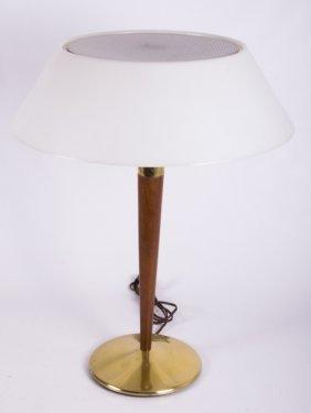 Lightolier Brass & Wood Mid-century Lamp