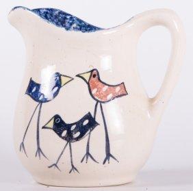 Signed Avian Motif Pottery Pitcher