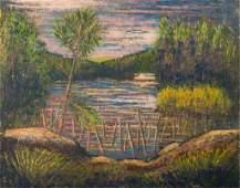 "Larry Edwardson ""Landscape"" Oil on Board"